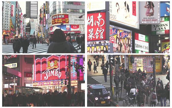 繁华日本城市建筑拥挤街道交通车流人来人往夜景镜头高清视频实拍