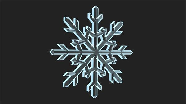 透明质感构建雪花特写旋转运动冰雪场景派对LED背景视频素材