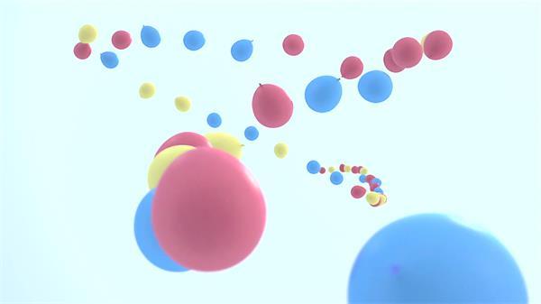 唯美背景大量气球捆绑一起上升形成弯曲排列形状镜头高清视频实拍