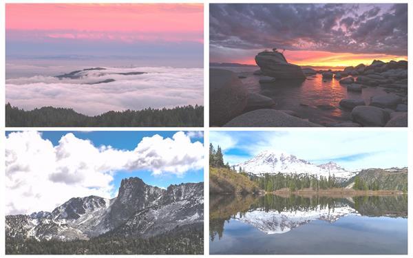 日落傍晚太阳照映射水面平地山脉天然风景风光镜头高清视频实拍