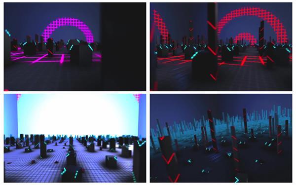 酷炫3D空间场景光效闪耀圆柱幻化酒吧派对场景舞台屏幕视频素材