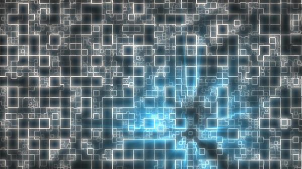 黑白错乱线条网格交错层叠蓝色光效移动变化科幻背景视频素材