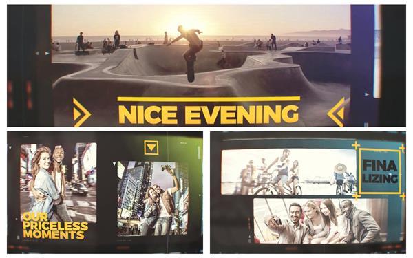 AE模板 时尚炫酷电影胶片风格切换活动场景幻灯片揭示模板 AE素材