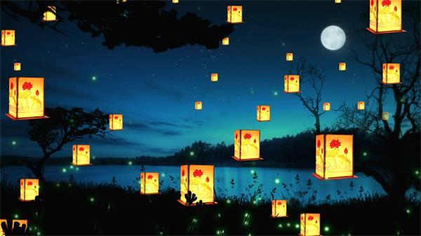 唯美荷塘月色光效粒子漂浮孔明灯旋转升起意境舞台背景视频素材