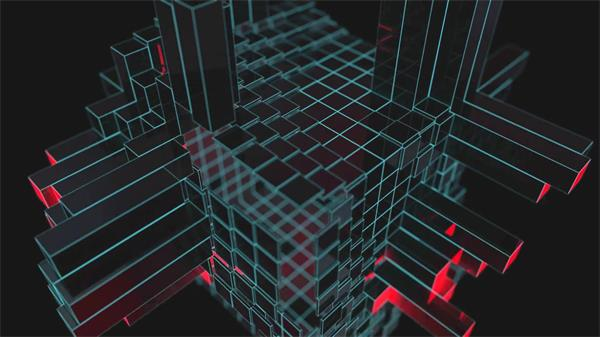 酷炫3D科幻效果魔方体网格条形动感起伏大气派对屏幕背景视频素材