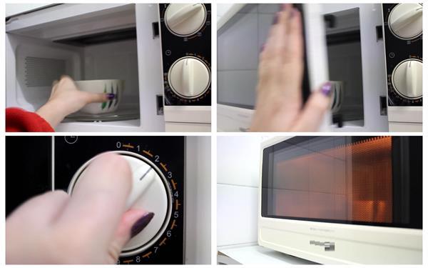室内女士打开微波炉热牛奶家电厨具使用运作过程镜头高清视频实拍