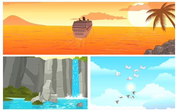 3款卡通场景日落轮船山景瀑布鸟儿飞翔儿童欢乐动画背景视频素材