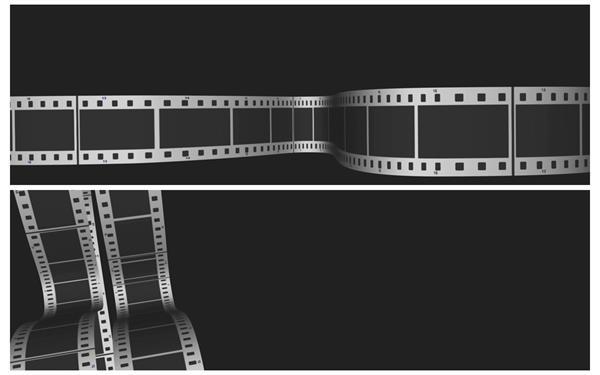 2款复古黑白经典电影胶卷弯曲移动装饰场景动态背景视频素材
