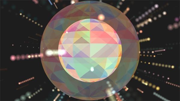 魔幻炫黑场景圆形三角形形状色彩旋转线性散发粒子光效背景视频素