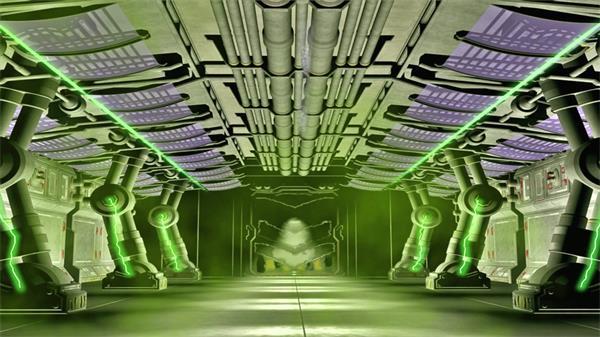 科幻3D空间抽象虚拟研究室场景电流机械运作LED背景视频素材