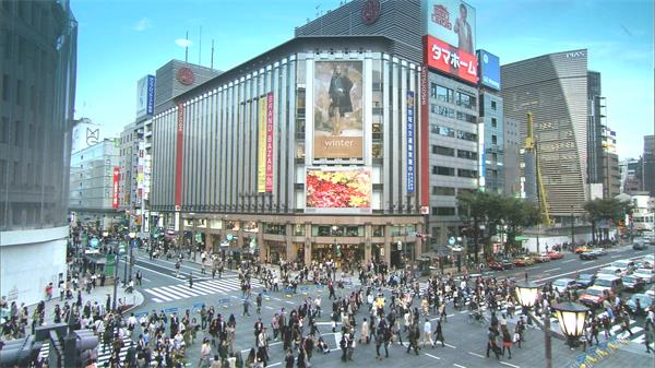 现代城市都市商业购物中心建筑街道交通车流人流镜头高清视频实拍