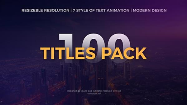 AE模板 100款时尚动感排版效果渲染标题动画开场片头模板 AE素材