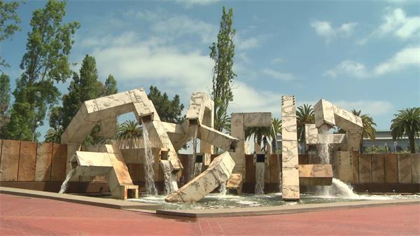 独特设计风格创意形状大喷泉造型地标人文地理景色高清视频实拍