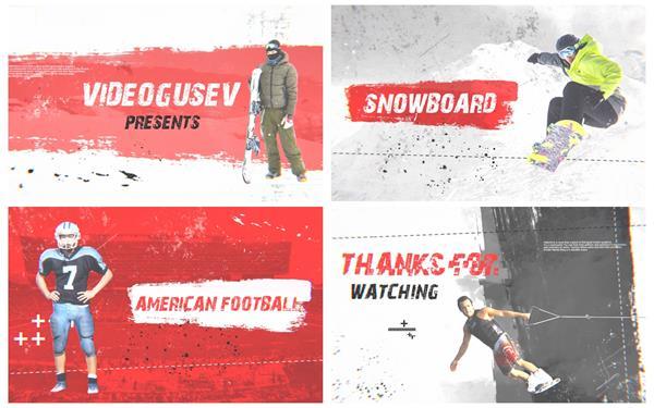 AE模板 炫酷动感笔刷过渡演绎运动场景体育赛事宣传预告片模版 AE