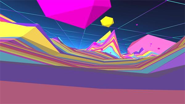 [4K]抽象3D空间缤纷色彩地形镜头移动虚拟世界动感背景视频素材