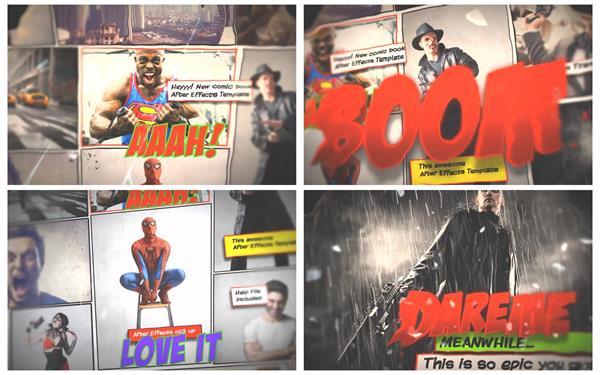 AE模板 个性动感漫画风格切换图文展示宣传介绍幻灯片模版 AE素材