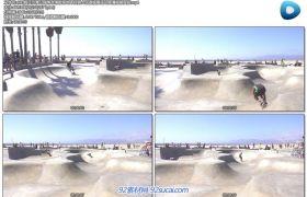 [4K]假日沙灘公園滑冰滑板場地年輕男士玩耍極限運動高清視頻實拍