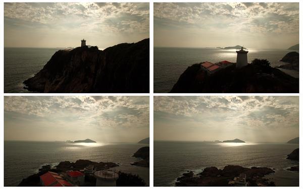 [4K]唯美海边灯塔建筑一望无际大海山自然风光景色镜头高清视频实