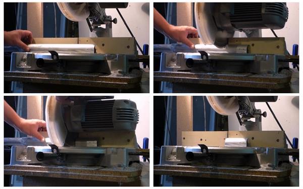 工人切割机机器认真仔细劳作切割工业铝合金型材镜头高清视频实拍