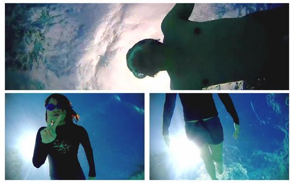 清爽夏日阳光海面人们游泳运动姿态展现水底镜头高清视频拍摄