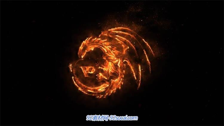 ae模板 震撼炫酷火焰燃烧变化渲染logo标志动画幻灯片模版 ae素材