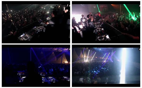 电子音乐节演唱会观众下面观看身体摇摆举手狂欢镜头高清视频实拍