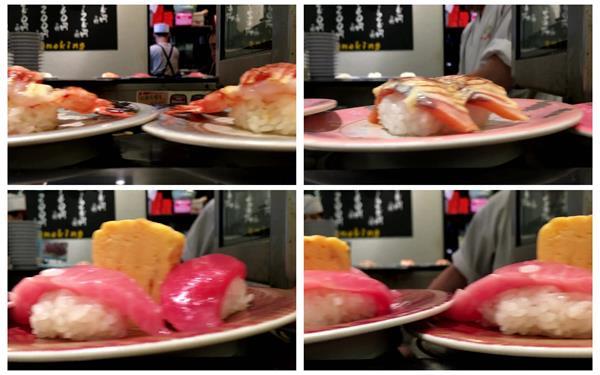 美味美食餐饮寿司料理旋转盘多款寿司食物镜头特写高清视频实拍