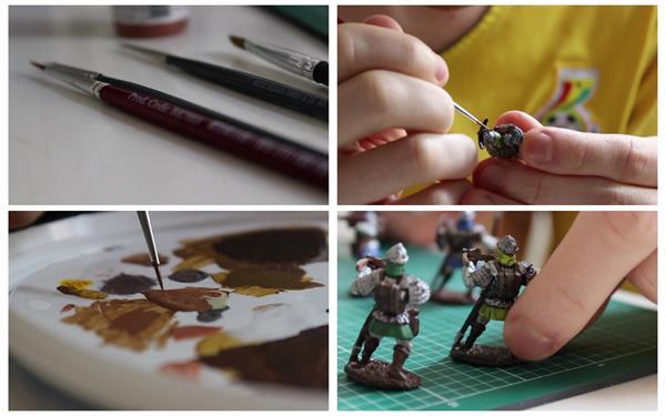 国际象棋模型雕像手工笔颜料涂画绘制休闲娱乐生活镜头高清视频实