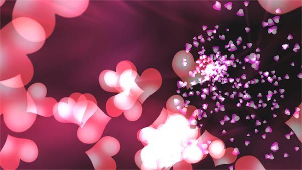 唯美優雅愛心旋轉漂浮溫馨浪漫婚禮舞臺場景開場視頻動畫素材
