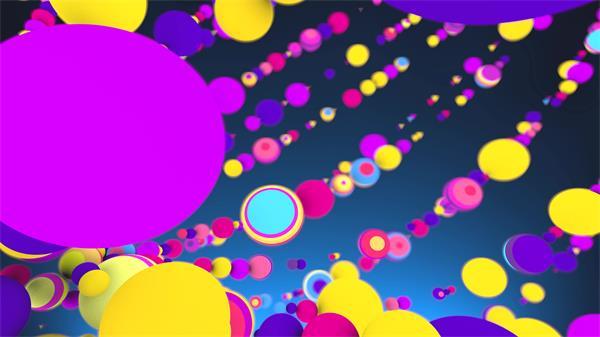 [4K]缤纷多彩绚丽圆球排列布局循环运动视觉场景派对舞台视频素材
