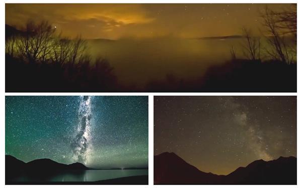 梦境唯美平地星空夜景如画般展现美景特写高清视频延时拍摄