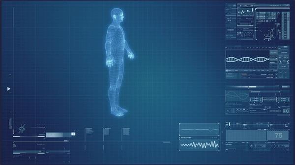 现代科技人体科学研究医学扫描旋转仪器屏幕展示视频素材