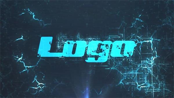 AE模板 震撼大气蓝光毛刺跳动元素渲染LOGO标志动画展示模版 AE素