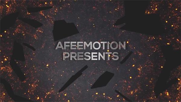 AE模板 震撼动感屏幕破碎爆发燃烧颗粒渲染电影预告片头模版 AE素