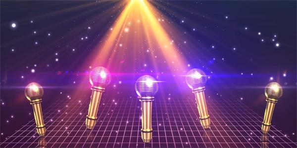 绚丽灯光粒子光效照射麦克风360度旋转上下动弹舞台LED背景视频素