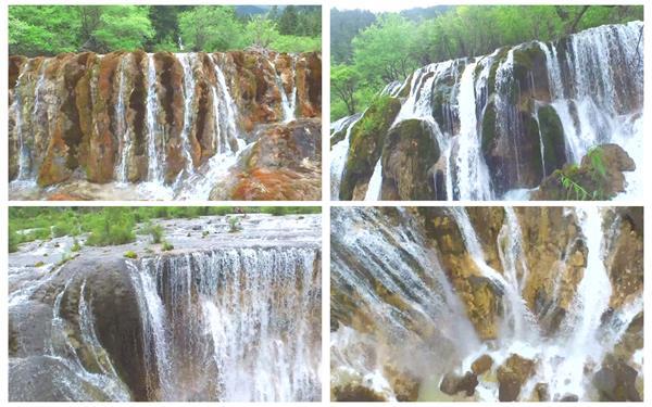 壮丽森林高山间清澈水流瀑布飞流直下自然风光美景高清视频实拍