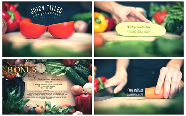AE模板 新鲜美味多汁健康蔬菜食材渲染切换字幕标题动画模版 AE素