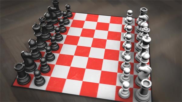 虚拟构建场景国际象棋镜头视觉变化宣传棋盘游戏片头视频素材