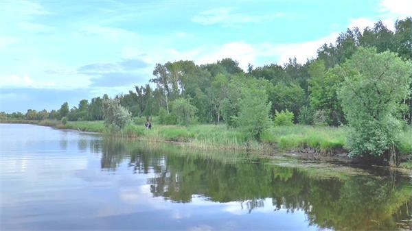 唯美蓝天湖边水中倒影人物休闲欢快散步聊天自然风光高清视频实拍