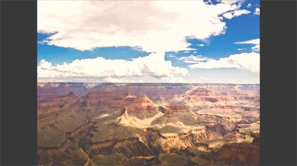 壮丽唯美蓝天云层飘荡变化照映岩石高山峡谷自然风光高清视频实拍
