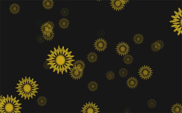 唯美简洁黄色花朵渐渐移动消失演绎儿童欢乐场景舞台视频素材