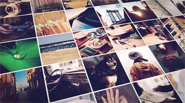 AE模板 时尚动感相册翻页效果演绎企业照片墙宣传片头模板 AE素材