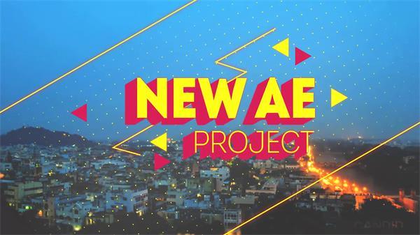 AE模板 创意动感滑动线条渲染标题长投影效果展示片头模板 AE素材