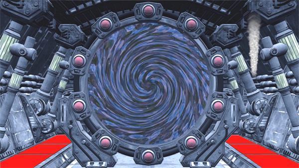 抽象机械化时空旋转门运作蒸汽渲染机器场景LED背景视频素材