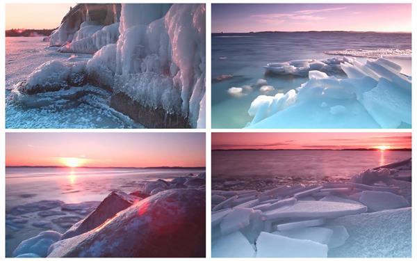 唯美温暖日落寒冷天气雪地冰山冰雪融化自然风光景色高清视频实拍