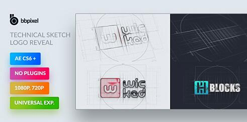 AE模板 酷炫简约快速技术草图动画标志模板 AE素材