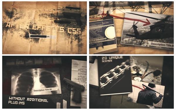 AE模板 復古懷舊懸疑探險電影片頭演繹驚險故事動畫預告片模版 AE