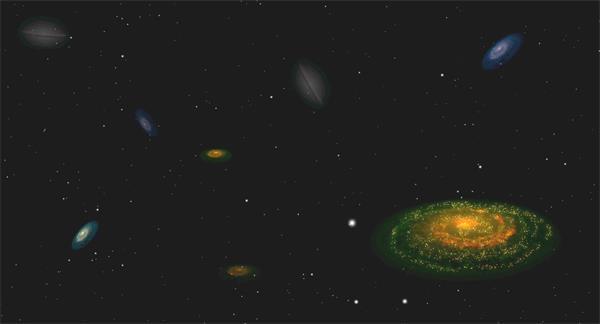 虚拟宇宙太空银河系星球分布虚拟儿童卡通动画场景视频素材
