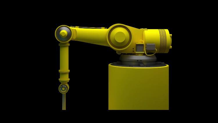 AE模板 現代科技黃色機器人手臂框架藍色監控視頻模板 AE素材