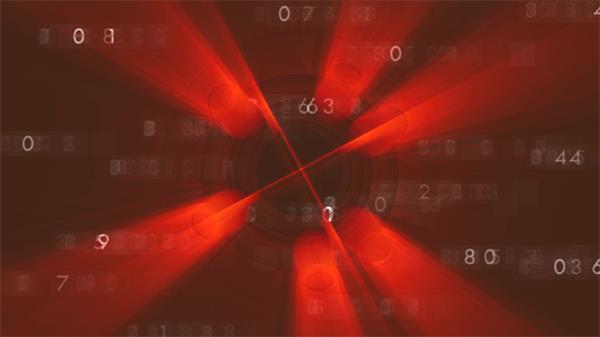 红色梦幻科技数据计算文字变化旋转光效渲染VJ场景视频素材